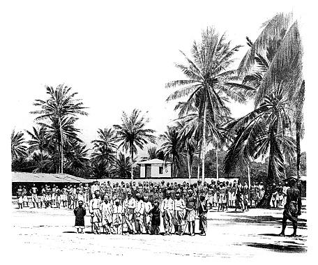 Illustration of a Caravan Serai,Tanzania , old caravan terminal where caravan porters gathered before going into the interior of Africa.