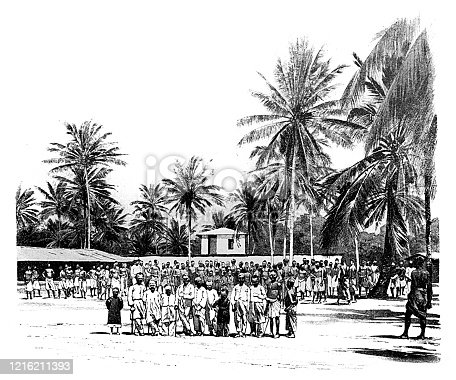 Illustration of a Caravan Serai,Tanzania , old caravan terminal where caravan porters gathered before going into the interior of Africa.