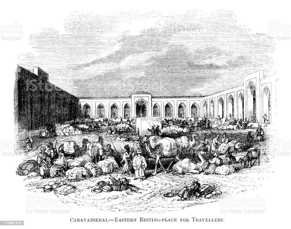 Caravanserai - a resting place for travellers (Victorian engraving) royalty-free stock vector art