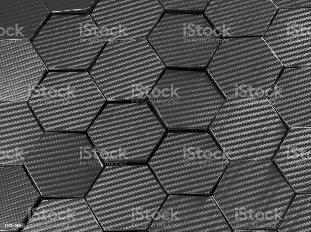 Carbon fiber hexagon abstract background 3D Illustration vector art illustration