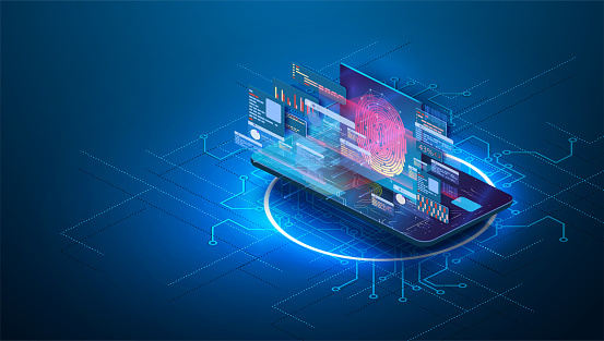 Card data protection with biometric technologies concept. Fingerprint Scanning Identification system security concept. Protection banking finance. Security Plastic Debit card software.Isometric vector