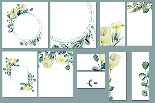 Card templates set with watercolor callas flowers; artistic design for business, wedding, anniversary invitation, flyers, brochures, table number, RSVP, Thank you card, Save the date card