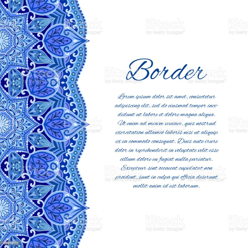 Card With Mandala Border Card Or Invitation Blue Wedding Stock ...