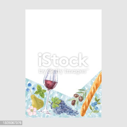 istock Card with watercolor illustrations and place for text . Picnic ornament concept. Poster, invite. Vector layout decorative greeting card or invitation design background. 1325067376