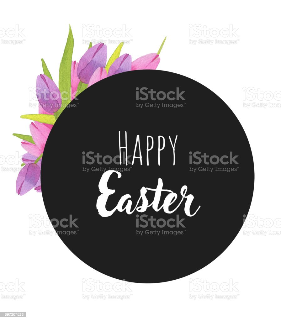 Card with watercolor spring tulips and Happy Easter text vector art illustration