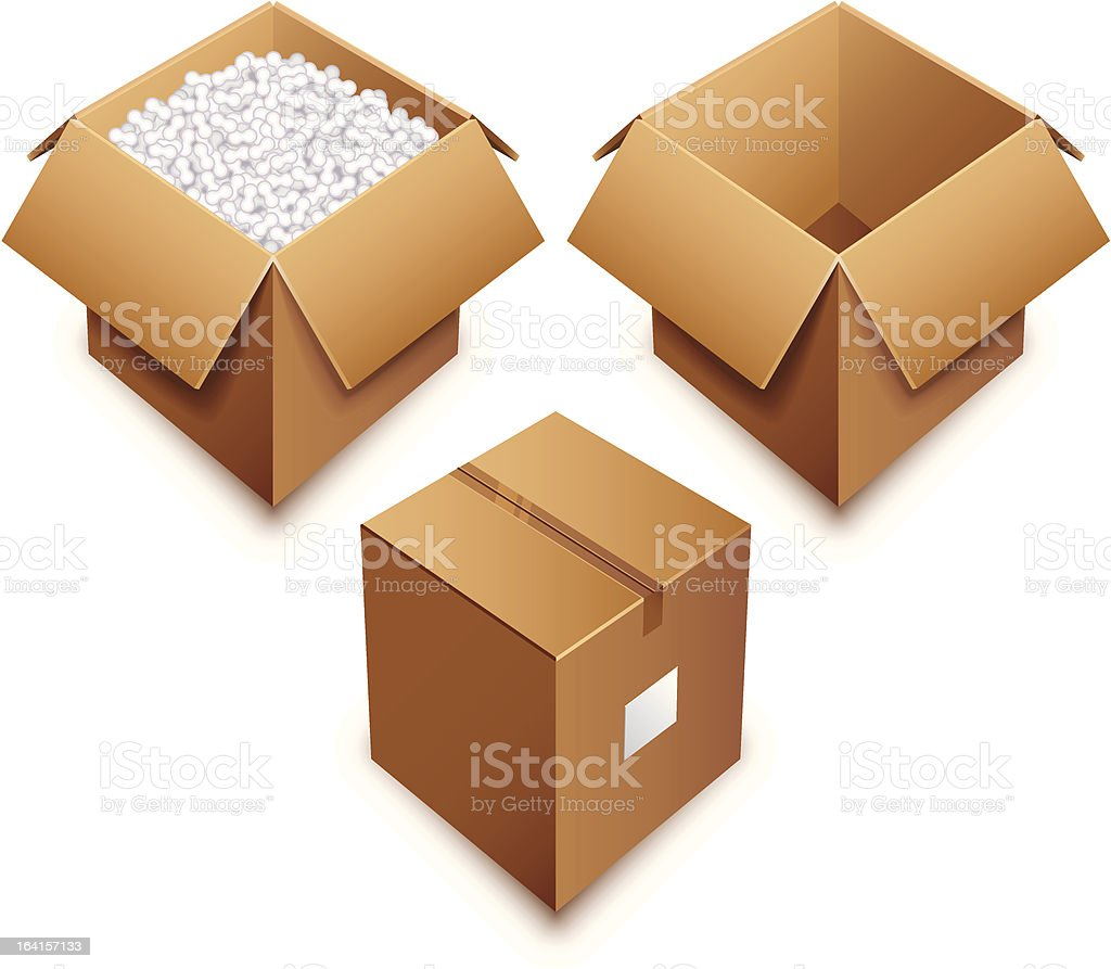 Cardboard box royalty-free cardboard box stock vector art & more images of box - container