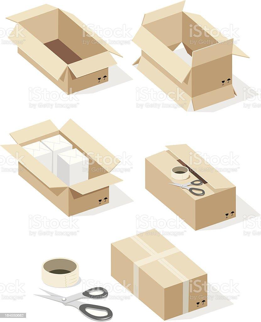 cardboard box, sealing tape, scissors vector art illustration