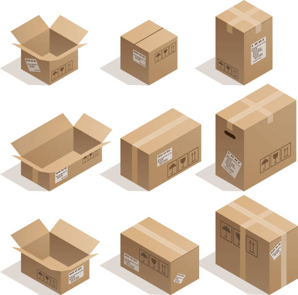 Cardboard boxes Set of nine isometric cardboard boxes isolated on white. cardboard box stock illustrations