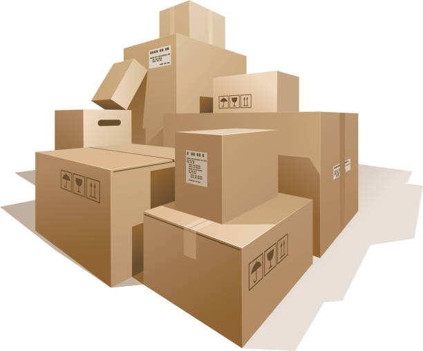 Cardboard bохеs Stack of boxes isolated on white. cardboard box stock illustrations