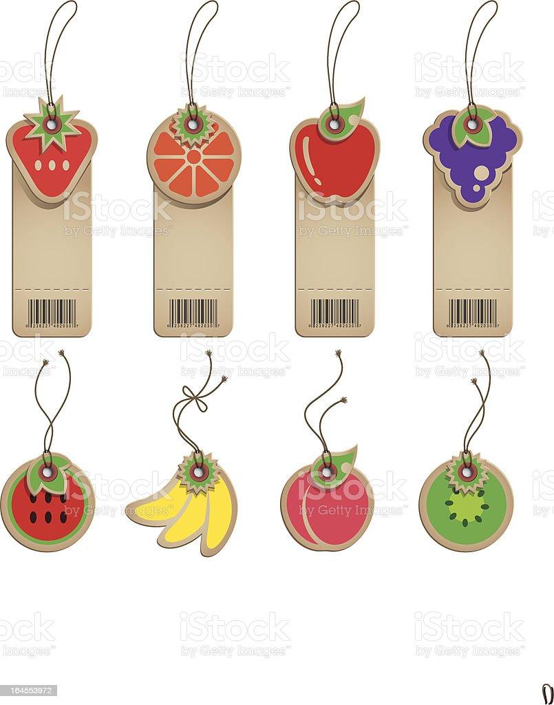 Cardboard Fruit Labels royalty-free stock vector art