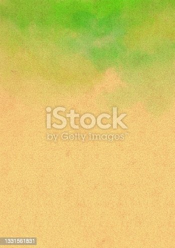 istock Cardboard illustration with green watercolor frame 1331561831