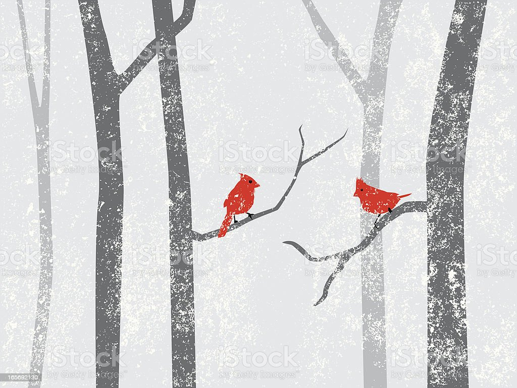 cardinals in snow storm royalty-free cardinals in snow storm stock vector art & more images of animal