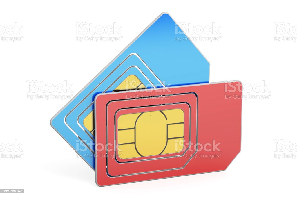 SIM cards, 3D rendering isolated on white background vector art illustration
