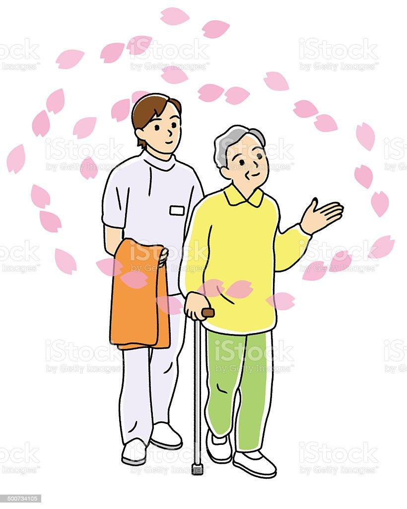 Caregiver attending for a walk in the elderly. vector art illustration