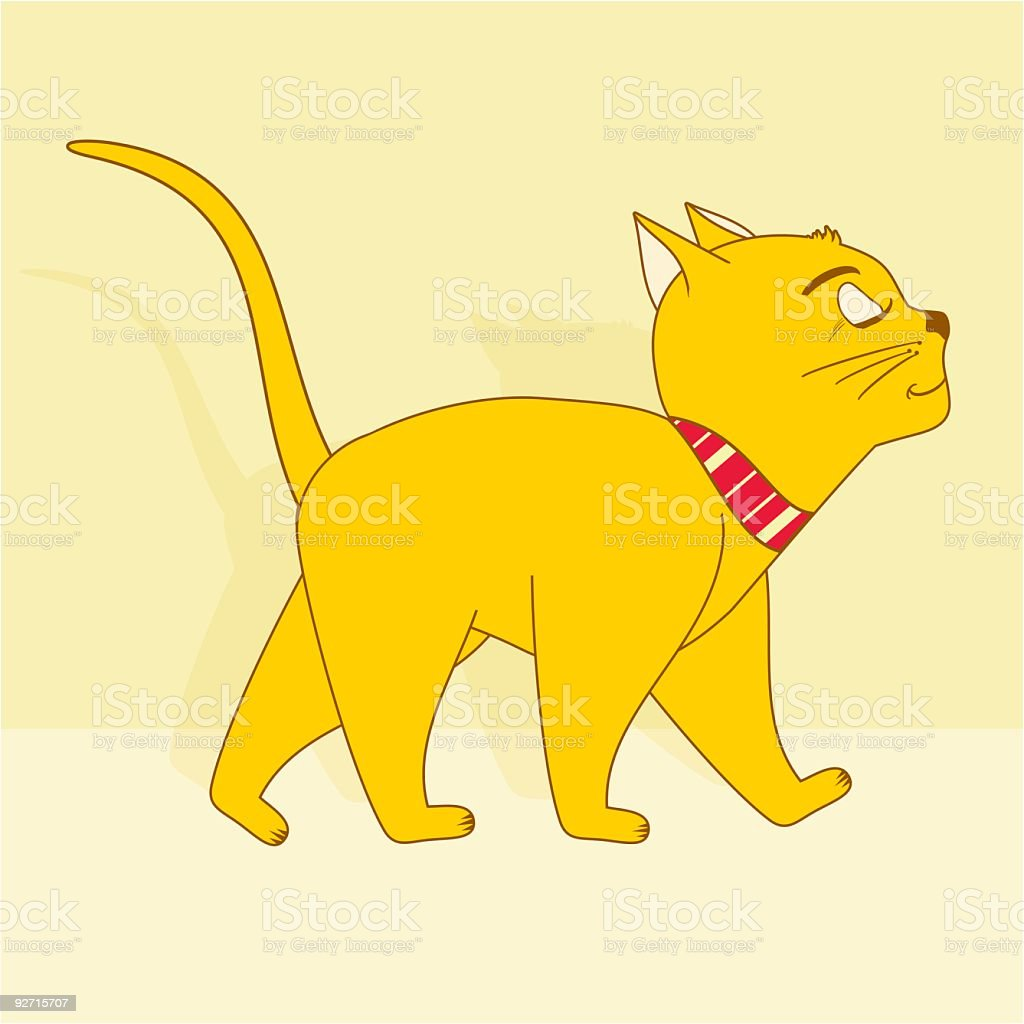 Careless cat vector art illustration