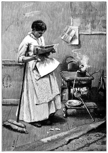 ilustrações de stock, clip art, desenhos animados e ícones de careless victorian woman reading and spoiling food in the kitchen - burned cooking