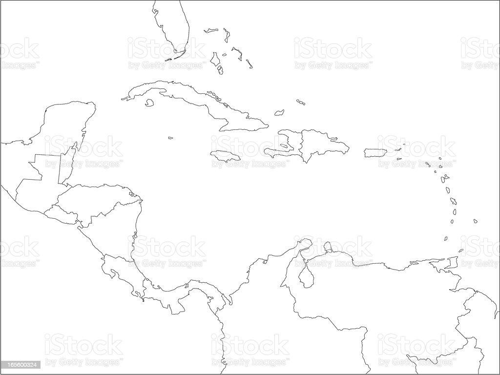 Caribbean line map. vector art illustration