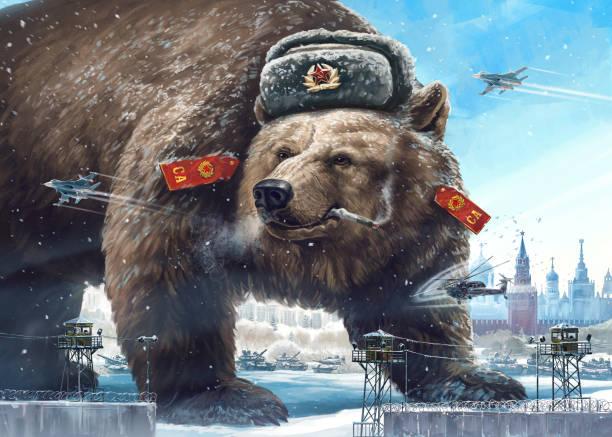 ilustraciones, imágenes clip art, dibujos animados e iconos de stock de oso de personaje de caricatura. cliché de propaganda. - rusia