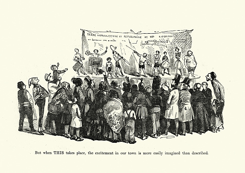 Caricature crowd watch a travelling theatre perform, Victorian 1860s. Life in a little provincial town
