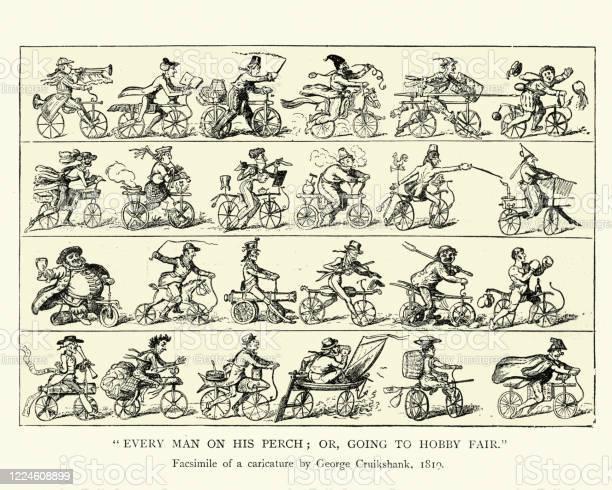 Caricature Des Premiers Cyclistes Histoire Du Cyclisme Au Début Du Xixe  Siècle Vecteurs libres de droits et plus d'images vectorielles de 1820-1829  - iStock