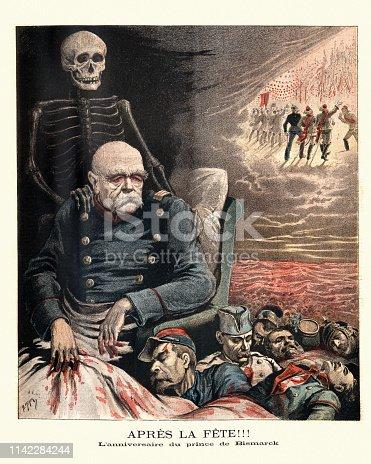 Vintage engraving Caricature of Otto von Bismarck looking over dead french soldiers and a sea of blood. Apres la Fete.  L'anniversaire du prince de Bismarck