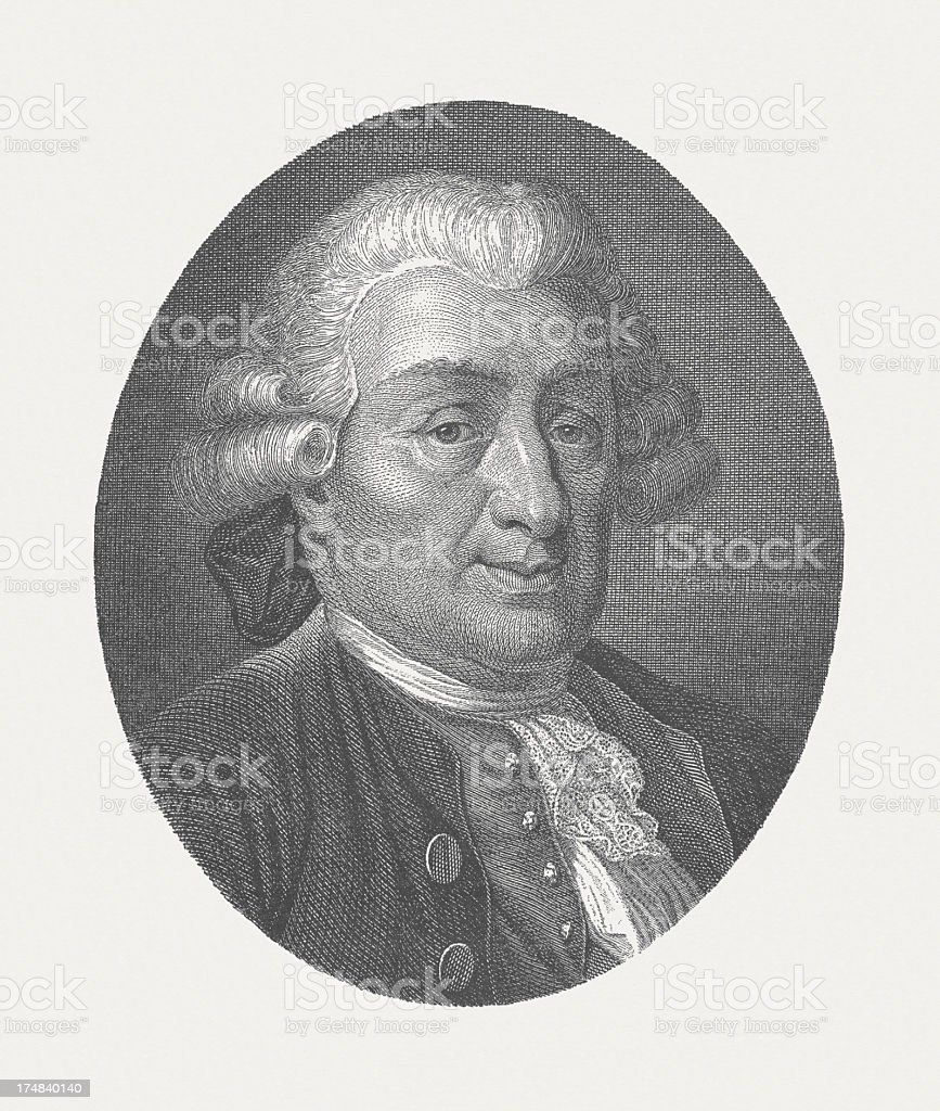Carlo Osvaldo Goldoni (1707-1793), Italian playwright, wood engraving, published 1882 royalty-free stock vector art