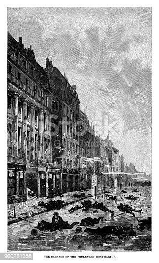 Carnage of the Boulevard Montmarte in Paris - Scanned 1880 Engraving