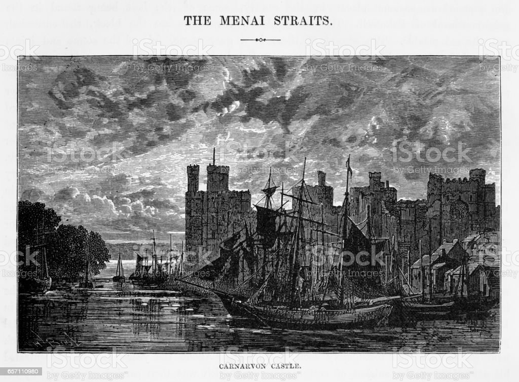 Carnarvon Castle in Gwynedd, Wales Victorian Engraving, 1840 vector art illustration