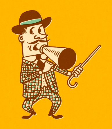 Carnival Barker With Cane and Megaphone