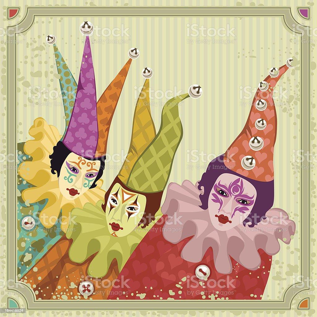 carnival clowns vector art illustration