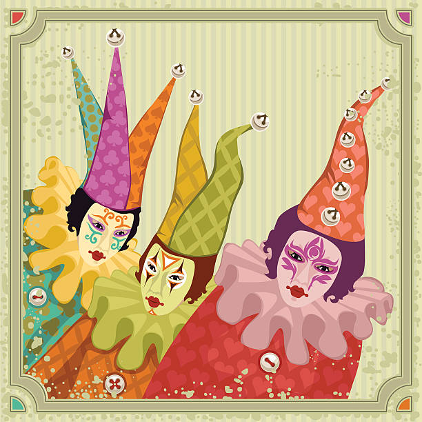 carnival clowns vector art illustration