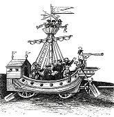 Carnival in Nuremberg: dancing with masks in a pirate ship , Schembartläufer