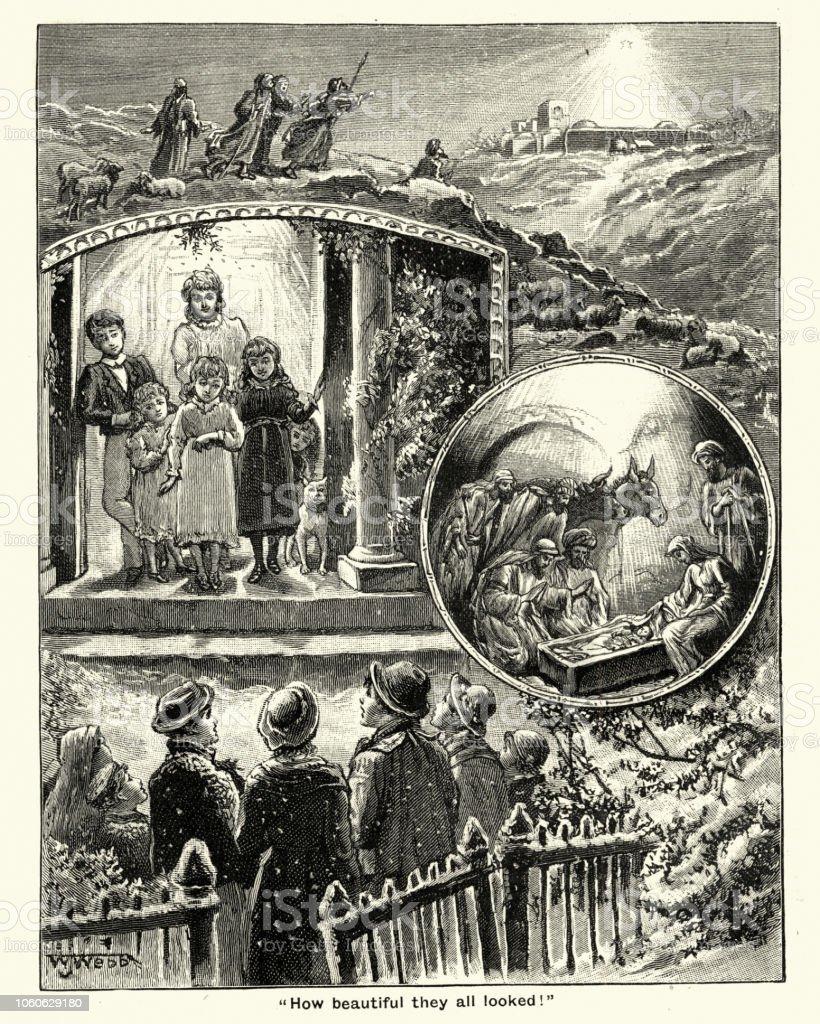 Carol Singers And Nativity Scene Victorian 19th Century Stock Vector