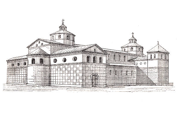 Carolingian cathedral - reconstruction Reconstruction of the Carolingian cathedral, consecrated in 873 lachen stock illustrations
