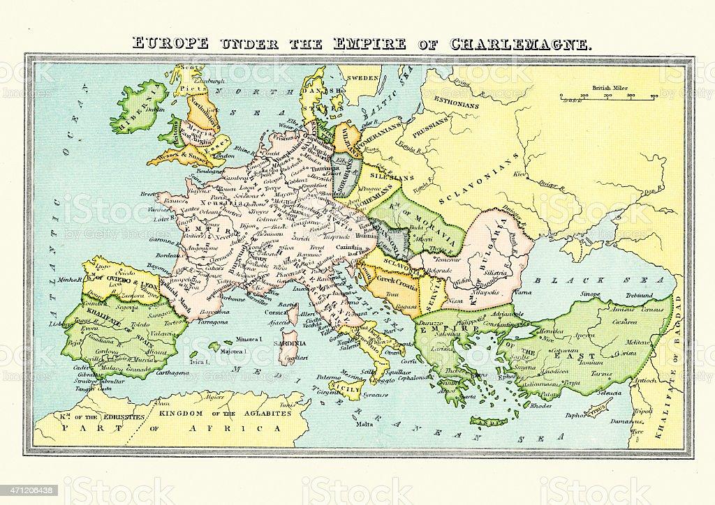Carolingian Empire - Map of Europe Under Charlemagne vector art illustration