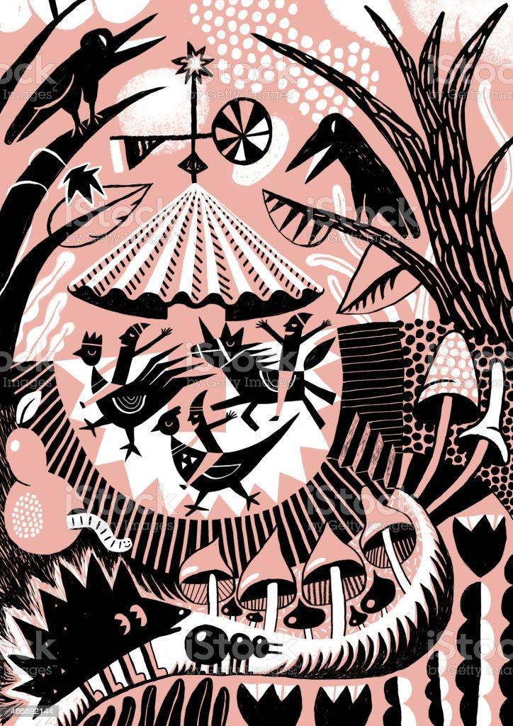Karussell In Woodland Rahmen Mit Tiere Und Vögel Stock Vektor Art ...