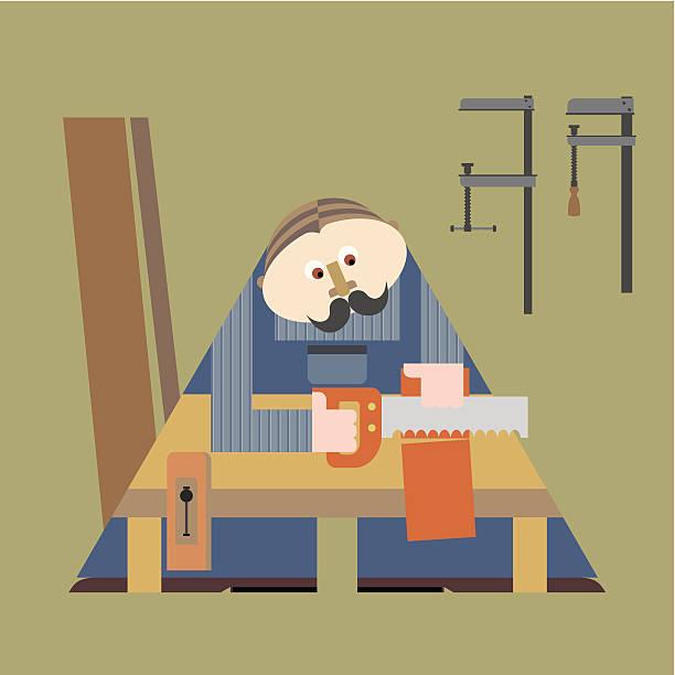 ilustraciones, imágenes clip art, dibujos animados e iconos de stock de carpenter - tintanegra00