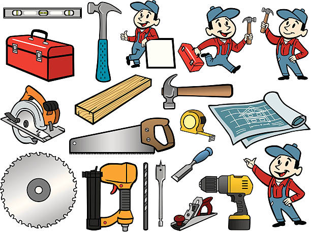 Carpenter Stuff vector art illustration