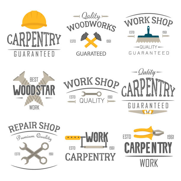 carpentry and construction tools emblems. - carpenter stock illustrations, clip art, cartoons, & icons