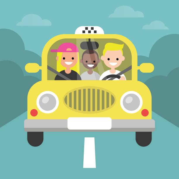 Carpool. Car sharing. Taxi service / flat editable vector illustration, clip art vector art illustration