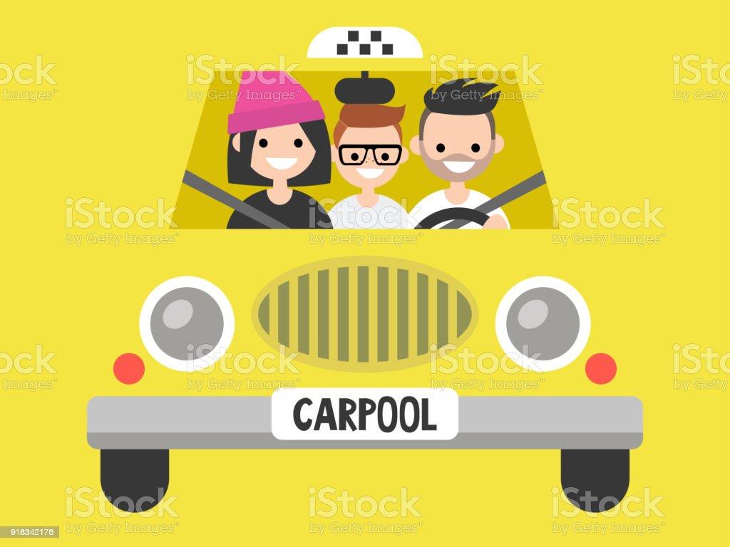Carpool. Taxi service. Driver and passengers / flat editable vector illustration, clip art vector art illustration