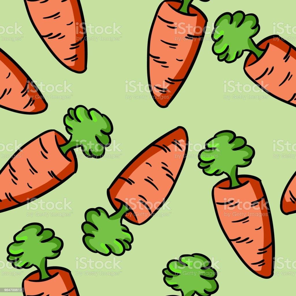 Carrot doodles colorful pattern vector art illustration
