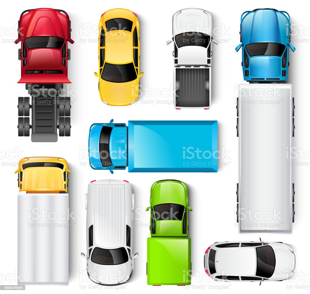 Cars and trucks top view illustration vector art illustration