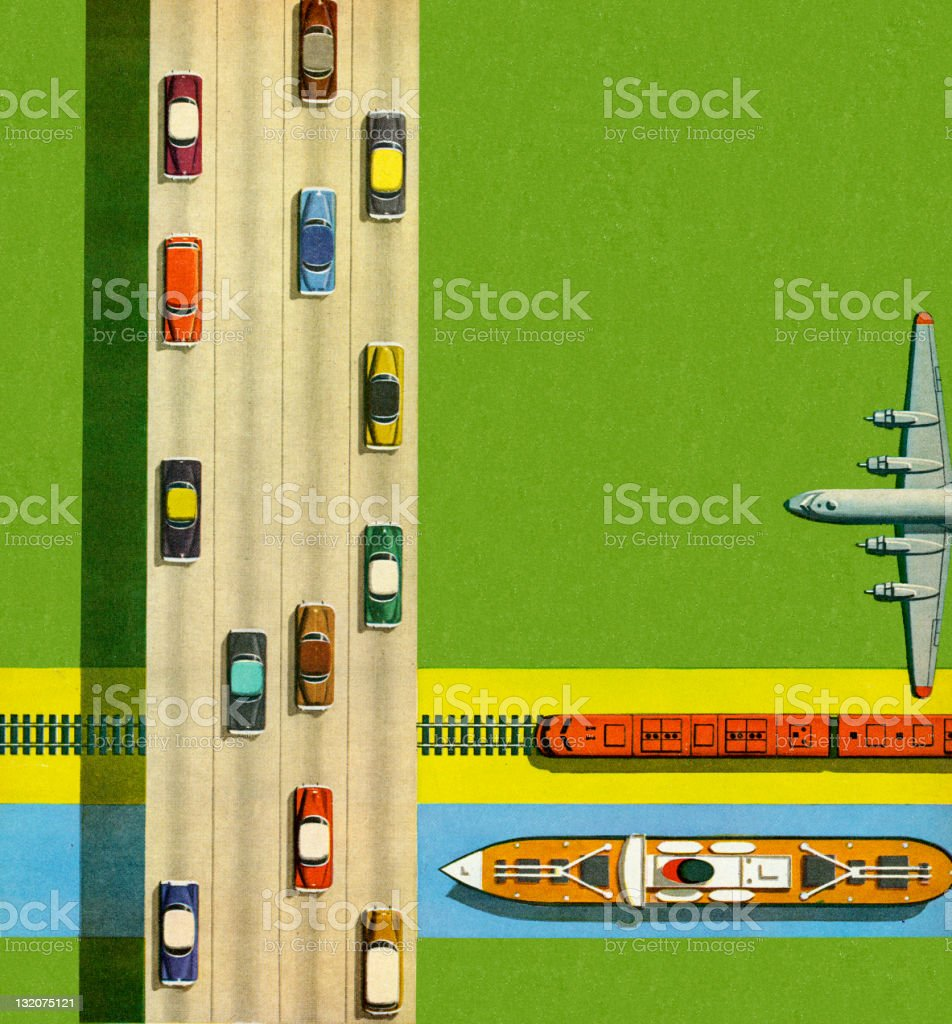 Cars, Boat, Train, and Airplane royalty-free stock vector art