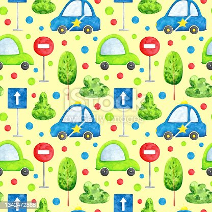 istock Cars pattern on ivory 1342472868