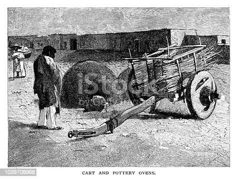 Cart and pottery oven in Mexico - Scanned 1882 Engraving