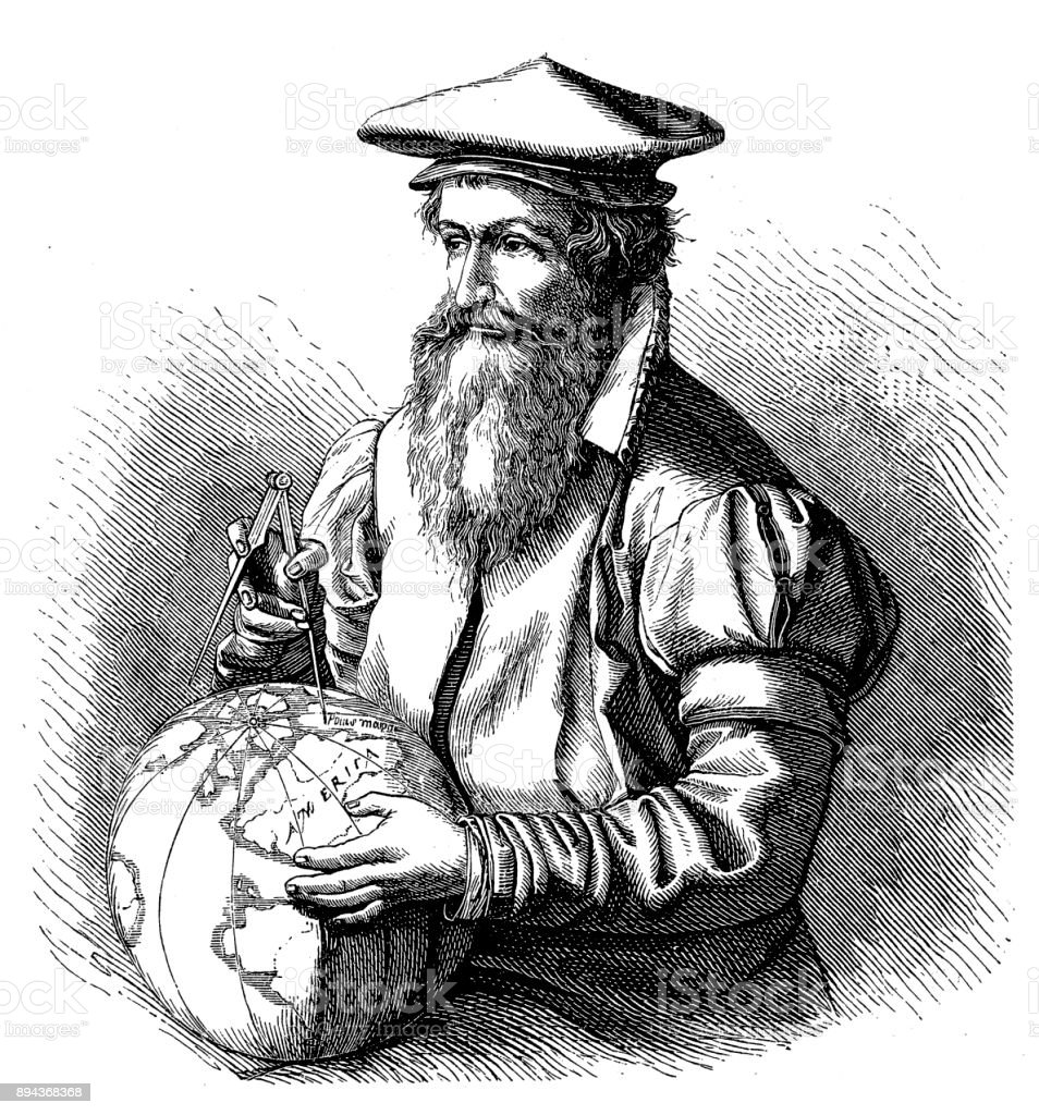 Cartographe Gerardus Mercator avec globe 1874 - Illustration vectorielle