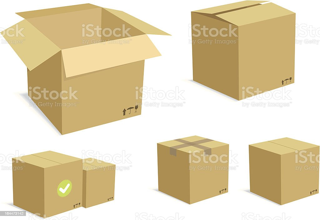 Carton Boxes Set vector art illustration