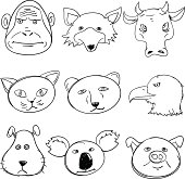 Sketch drawing of cartoon animal head in sketch style, black and white.