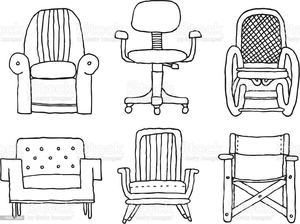 Cartoon armchairs set vector art illustration